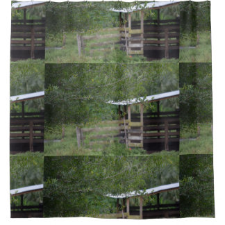 Cortina Para Box árvore e foto velha de florida do celeiro
