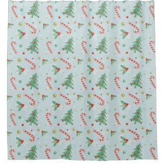 Cortina Para Box Árvores de Natal e bastões de doces