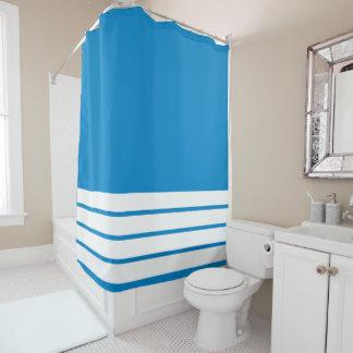 Cortina Para Box Azul de oceano com listras brancas no fundo