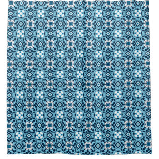Cortina Para Box Azulejo marroquino floral, índigo, azul-céu e