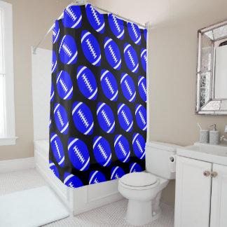 Cortina Para Box Banheiro azul dos futebóis do jogador ou do