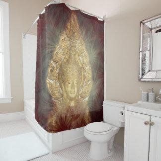 Cortina Para Box banheiro dourado de buddha