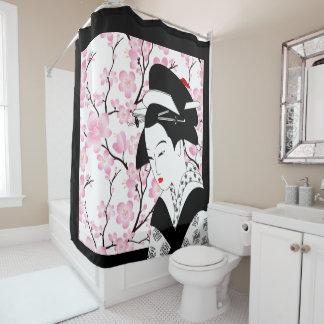 Cortina Para Box branco japonês do preto do rosa da gueixa da flor