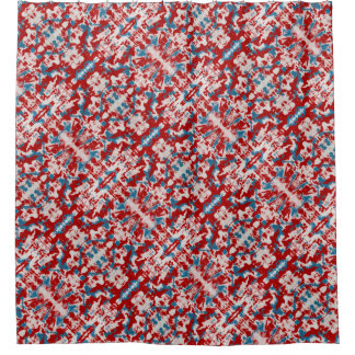 Cortina Para Box Brushstrokes vermelhos, brancos e azuis
