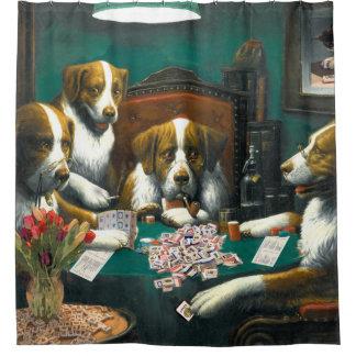 Cortina Para Box Cães que jogam a cortina de chá do Mah Jongg