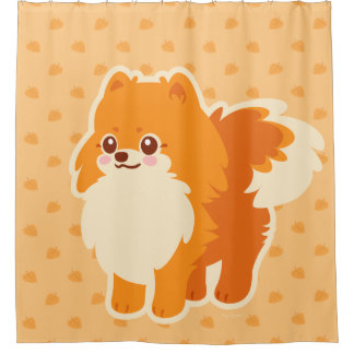 Cortina Para Box Cão dos desenhos animados de Kawaii Pomeranian