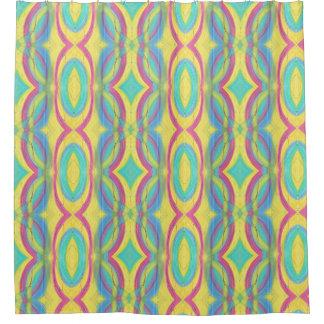 Cortina Para Box Chá azul cor-de-rosa geométrico abstrato colorido
