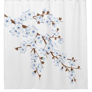 Cortina Para Box Clássico branco azul das flores de cerejeira