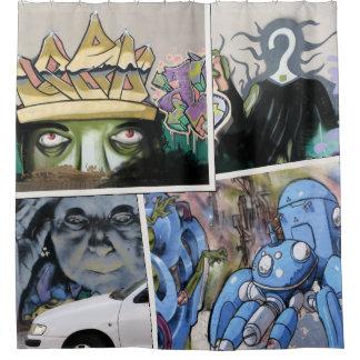 Cortina Para Box Colagem suja colorida da arte da rua