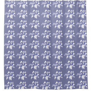 Cortina Para Box Cortina de chá azul e branca do cavalo de Dala