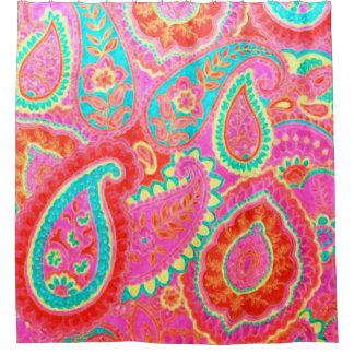 Cortina Para Box Cortina de chá cor-de-rosa de Paisley