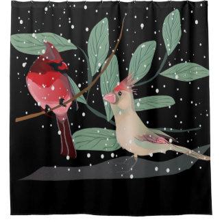 Cortina Para Box Cortina de chá de queda cardinal vermelha do Natal
