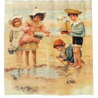 Cortina Para Box Cortina de chá do vintage das crianças da praia do