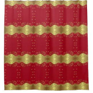 Cortina Para Box Cortina de chá--Redemoinhos & vermelho do ouro