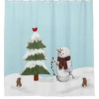 Cortina Para Box Decorando a cortina de chá do boneco de neve da