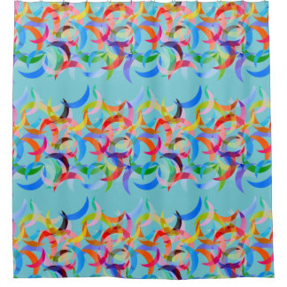 Cortina Para Box Design crescente colorido na cortina de chá