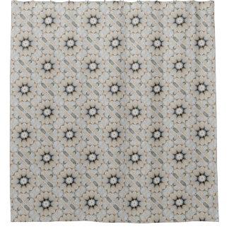 Cortina Para Box Design de pedra neutro da mandala da flor do cinza