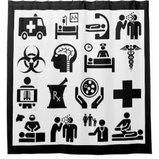 Cortina Para Box Design preto e branco corajoso dos ícones médicos
