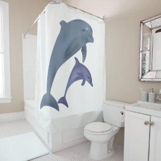 Cortina Para Box Dois golfinhos tropicais que saltam ao lado de se