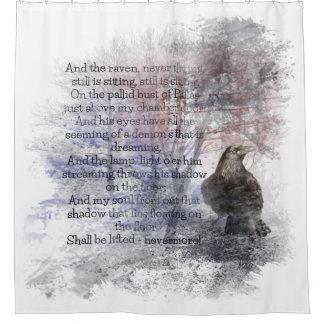 Cortina Para Box Edgar Allan Poe a aguarela do corvo do poema do