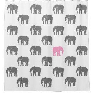 Cortina Para Box Elefante cor-de-rosa emblemático entre o cinza uns