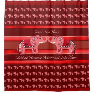 Cortina Para Box Elefante do Henna (vermelho/rosa)