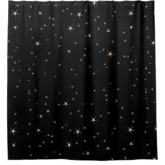 Cortina Para Box Estrelas glamoroso do ouro no fundo preto