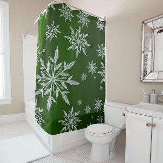 Cortina Para Box Estrelas verdes do Natal com o cristal de gelo