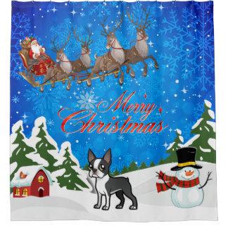 Cortina Para Box Feliz Natal Boston Terrier