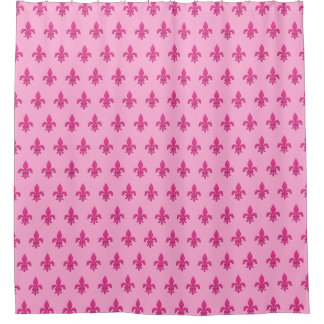Cortina Para Box Flor de lis no rosa fúcsia na luz - rosa
