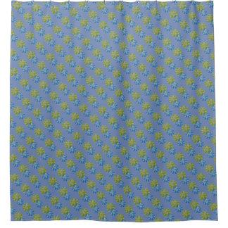 Cortina Para Box Flores do azul e do verde limão