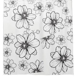 Cortina Para Box Flores preto e branco gráficas corajosas