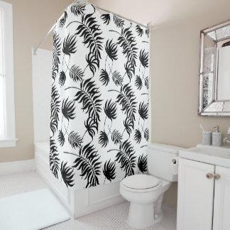 Cortina Para Box Folhas de palmeira tropicais preto e branco