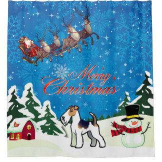 Cortina Para Box Fox Terrier do fio do Feliz Natal com papai noel