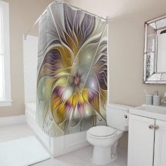 Cortina Para Box Fractal moderno da flor colorida abstrata da