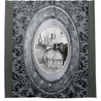 Cortina Para Box hermother cinzento do showercurtain do espelho da