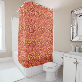 Cortina Para Box Hibiscus vermelho com a cortina de chá das