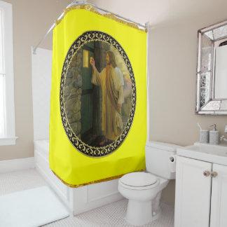 Cortina Para Box Jesus em sua folha de ouro da porta com textura