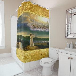 Cortina Para Box Jesus no design da textura do ouro da porta do céu