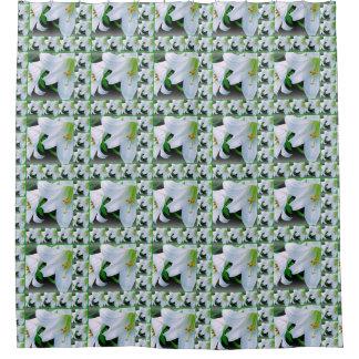 Cortina Para Box Lírios abundante brancos e cortina de chá verde