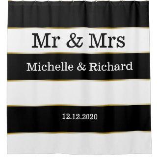 Cortina Para Box Listras do branco do Sr. e da Sra. Nome Casamento
