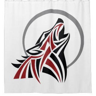 Cortina Para Box Lobo tribal que urra a lua cinzenta preta vermelha