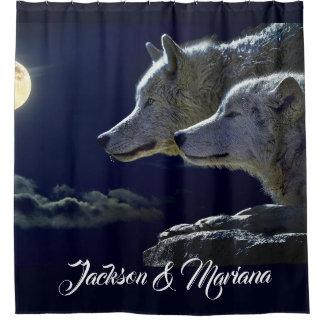 Cortina Para Box Lobos cinzentos sob uma Lua cheia