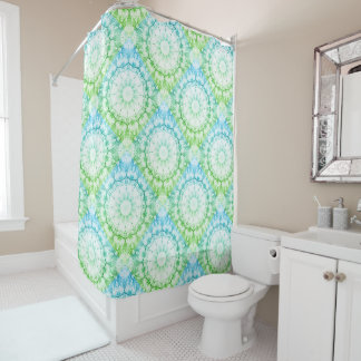 Cortina Para Box Mandala-estilo floral, flores azuis/verde