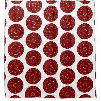 Cortina Para Box Mandala redonda do vermelho, a alaranjada e a