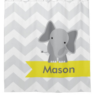 Cortina Para Box Miúdos amarelos cinzentos do elefante de Chevron