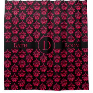 Cortina Para Box Monograma cor-de-rosa escuro no preto