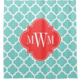 Cortina Para Box Monograma coral marroquino do vermelho #5 3I do