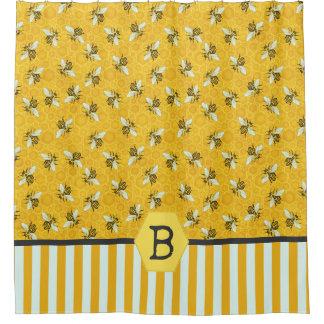 Cortina Para Box Monograma do zangão da colmeia da abelha do favo