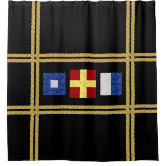 Cortina Para Box Monograma marítimo náutico da bandeira de sinal da